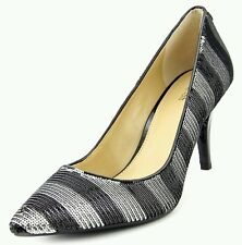 MICHAEL Michael Kors® MK Flex Mid Pump Black Silver Stripe Sequin Size 7