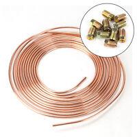 """Brake Pipe Copper Line 3/16"""" 25Ft & 20x Male/Female Brake Nuts 3/8""""Unf x 24Tpi"""