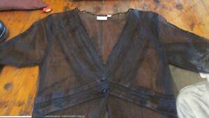 Nataya Age of Love Black Edwardian Style Sheer Tunic Dress Overlay Jacket