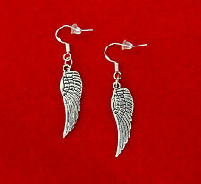 SILVER ANGEL WINGS DANGLE CHARM EARRINGS~CHRISTMAS GIFT FOR HER~STERLING HOOK