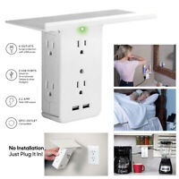 8 Port Shelf Socket Surge Protector Wall Outlet 6 Extender Outlet 2 USB Ports