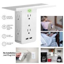 8 Port Shelf Socket Surge Protector Wall Outlet 6 Extender Outlet 2 USB Ports