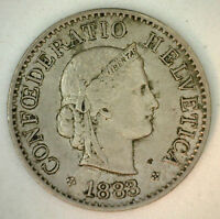 1883 Switzerland Swiss Helvetia 5 Rappen 5 Cent Coin Almost Uncirculated AU