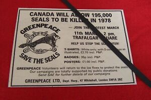 1978 GREENPEACE SAVE THE SEALS ORIGINAL VINTAGE ADVERT PROTEST MARCH LONDON