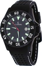 Le Chateau 7075MGUN_BLK Men's Dynamo Black Dial Silicone Band Automatic Watch