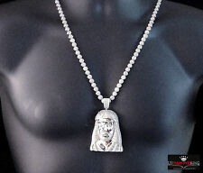 New Mens 14k White Gold Lab Diamond Jesus Head Pendant W / Flower Necklace Set