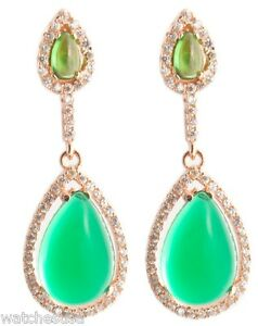 18 K Rose Gold Plated Lab Made Diamonds Emerald Women's Silver Hanging earrings
