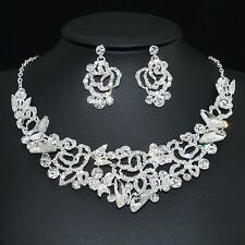 YT244 Clear Rhinestone Crystal Rose Earrings Necklace Set Bridal Party Gift