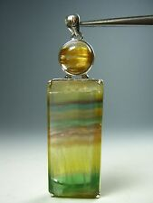 "2.63"" multicolored banded fluorite/cat's eye rutile quartz silver pendant  AZ 16"