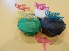 12 Happy Birthday Pastel Color Cupcake Toppers - Picks Cake Candy Decorations