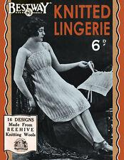 Bestway #92 c.1920 Classic Knitting Patterns for Women's Flapper era Lingerie