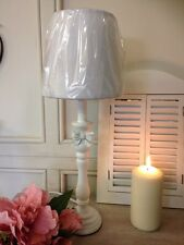 Shabby Chic French Country Vintage White Wooden BOW Table Lamp Inc Shade