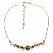 Wallis Necklace Crystal Gold Bronze Amber Bead Design