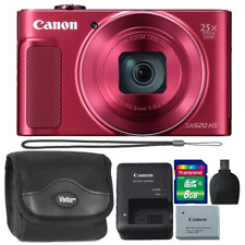 Canon PowerShot SX620 20.2MP HS Digital Camera Red + 8GB Memory Card & Reader