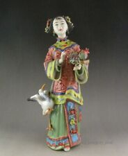 "Beautiful Chinese Famille Rose ""Heshou Girl"" Porcelain Statue"