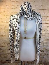 Juicy Couture JC Logo Print Full Zip Hoodie Hooded Top Size M Cool Rayon Cream