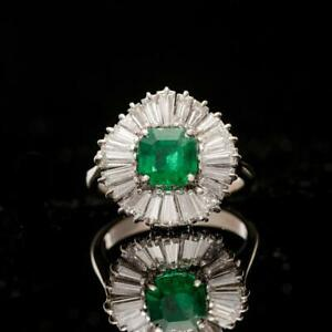 Tapered Baguette Diamond and Emerald Ballerina Ring