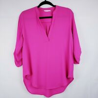 Lush Womens Bright Pink Sheer Blouse Size Small Roll Tab Sleeve Tunic