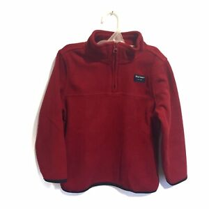 Old Navy Boys Fleece 1/4 Zip Pullover Sweater Red With Pockets Size 5T