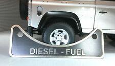 Land Rover Defender TD5 TDCi Tdi grabado insignia de advertencia de relleno de combustible diesel 502951