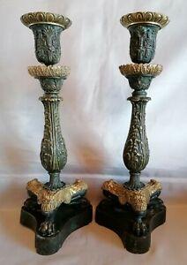 Paire de Bougeoirs Double Patine En Bronze Époque Restauration Début 19ème...