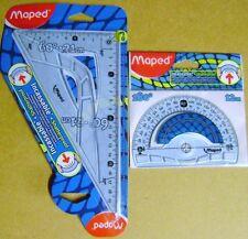 Equerre de dessin incassable + 1 rapporteur demi-circulaire Maped bleu  /T16