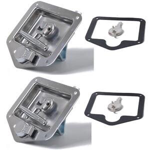 2 x Stainless Steel Folding T-Shape Handle Lock Tool Box Keys Kit Truck Trailer
