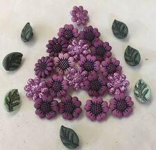 Dress It Up Buttons - craft, Purple Flowers Leaves - Tiny Country Flowers 1783