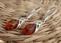 Cognac Baltic Amber 925 Sterling Silver Dangle Drop Celtic Earrings Jewellery