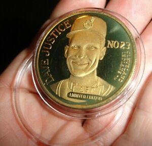 Cleveland Indians Dave Justice Lmtd gold Coin BRONZE Medal Token Atlanta Braves