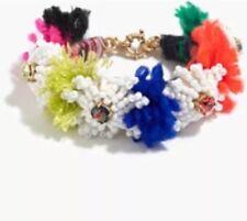 J Crew Flower White Orange Seed Beaded Crystal Bracelet NWT