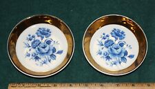 2 Wade Porcelain White with Blue Flowers  Gold Trim Coasters Dish