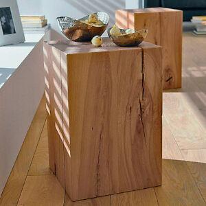 Noblewood Massivholzblock Hocker Sitzblock Beistelltisch Säule Tisch Block Deko