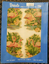 Vintage Meyercord Decals X307D Pink Flamingos in Water Flowers 4 Small Decals