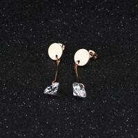 Cute Smooth Round Stick Tassels CZ Rose Gold GP Surgical Steel Stud Earrings