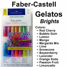 Faber-Castell ~ Gelatos ~ 15 Pieces ~ Brights ~ Paint Brush & 2 Foam Tools ~ NIP