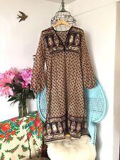 Beige Gypsy Boho Bohemian Dress M 12 14 Indian Gauze Kaftan Spell Vintage