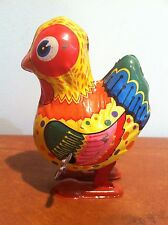 Vintage Tin Litho Wind Up Toy Chicken Yone Japan c. 1960s