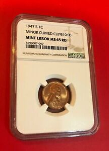 1947 S ONE CENT MINOR CURVED CLIP@10:00 MINT ERROR MS 65 RD