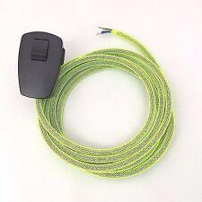 3m Textilkabel Anschlusskabel 3-adrig Zuleitung neongelb Netz Schalter Stecker