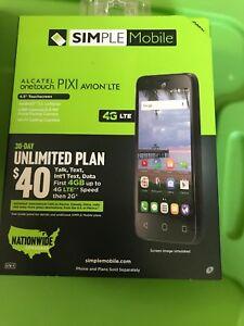 BRAND NEW ALCATEL onetouch PIXI AVION LTE (SIMPLE Mobile/T-Mobile) Smartphone