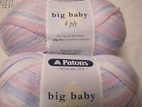 PATONS BIG BABY 4PLY YARN, 1 BALL PINK/LILAC MIX 100GR,NO 3909