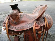 USED 15 16 WADE ROPING RANCH TRAIL WESTERN COWBOY PLEASURE LEATHER HORSE SADDLE