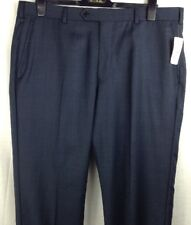 BROOKS BROTHERS Men's Blue Plaid Flat Front 100% Wool Slacks Dress Pants W38/L34