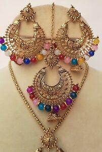 Indian Bollywood bridal multi Necklace Jewelry Wedding Bridal set tika Earrings.
