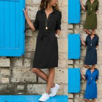 ❤️ Women Long Sleeve Buttons Dress Summer Beach Casual V Neck Mini Shirt Dresses