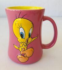 """Tweety Bird Coffee Mug Warner Bros Looney Tunes 4.5"""" Tall Pink Yellow Cuteness"""