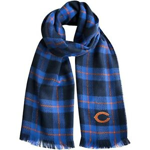 """Chicago Bears NFL Plaid Blanket Fashion Scarf 75"""" x 30"""" New with Tags"""