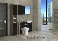 Driftwood / Black Gloss Bathroom Fitted Furniture With Wall Units 1650Mm