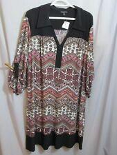 NWT Dress Tunic Black Multi Design Color Pink White Brown Shift Long Slv Plus 2X